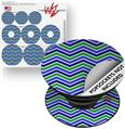 Decal Style Vinyl Skin Wrap 3 Pack for PopSockets Zig Zag Blue Green (POPSOCKET NOT INCLUDED)
