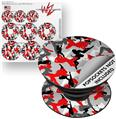 Decal Style Vinyl Skin Wrap 3 Pack for PopSockets Sexy Girl Silhouette Camo Red (POPSOCKET NOT INCLUDED) by WraptorSkinz