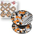 Decal Style Vinyl Skin Wrap 3 Pack for PopSockets Sexy Girl Silhouette Camo Orange (POPSOCKET NOT INCLUDED) by WraptorSkinz