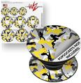 Decal Style Vinyl Skin Wrap 3 Pack for PopSockets Sexy Girl Silhouette Camo Yellow (POPSOCKET NOT INCLUDED)
