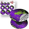 Decal Style Vinyl Skin Wrap 3 Pack for PopSockets Halftone Splatter Green Purple (POPSOCKET NOT INCLUDED)