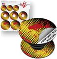 Decal Style Vinyl Skin Wrap 3 Pack for PopSockets Halftone Splatter Yellow Red (POPSOCKET NOT INCLUDED)