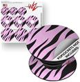 Decal Style Vinyl Skin Wrap 3 Pack for PopSockets Zebra Skin Pink (POPSOCKET NOT INCLUDED)