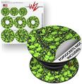 Decal Style Vinyl Skin Wrap 3 Pack for PopSockets Scattered Skulls Neon Green (POPSOCKET NOT INCLUDED)
