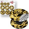 Decal Style Vinyl Skin Wrap 3 Pack for PopSockets Electrify Yellow (POPSOCKET NOT INCLUDED)