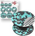 Decal Style Vinyl Skin Wrap 3 Pack for PopSockets WraptorCamo Old School Camouflage Camo Neon Teal (POPSOCKET NOT INCLUDED)
