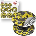 Decal Style Vinyl Skin Wrap 3 Pack for PopSockets WraptorCamo Old School Camouflage Camo Yellow (POPSOCKET NOT INCLUDED)