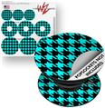 Decal Style Vinyl Skin Wrap 3 Pack for PopSockets Houndstooth Neon Teal on Black (POPSOCKET NOT INCLUDED)