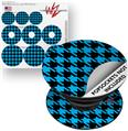 Decal Style Vinyl Skin Wrap 3 Pack for PopSockets Houndstooth Blue Neon on Black (POPSOCKET NOT INCLUDED)