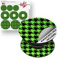 Decal Style Vinyl Skin Wrap 3 Pack for PopSockets Houndstooth Neon Lime Green on Black (POPSOCKET NOT INCLUDED)