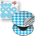 Decal Style Vinyl Skin Wrap 3 Pack for PopSockets Houndstooth Blue Neon (POPSOCKET NOT INCLUDED)