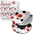 Decal Style Vinyl Skin Wrap 3 Pack for PopSockets Lots of Dots Red on White (POPSOCKET NOT INCLUDED)