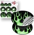 Decal Style Vinyl Skin Wrap 3 Pack for PopSockets Metal Flames Green (POPSOCKET NOT INCLUDED)