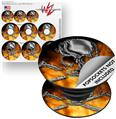 Decal Style Vinyl Skin Wrap 3 Pack for PopSockets Chrome Skull on Fire (POPSOCKET NOT INCLUDED)