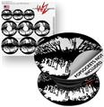 Decal Style Vinyl Skin Wrap 3 Pack for PopSockets Big Kiss Lips White on Black (POPSOCKET NOT INCLUDED)