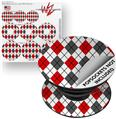 Decal Style Vinyl Skin Wrap 3 Pack for PopSockets Argyle Red and Gray (POPSOCKET NOT INCLUDED)