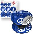 Decal Style Vinyl Skin Wrap 3 Pack for PopSockets Love and Peace Blue (POPSOCKET NOT INCLUDED)
