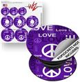 Decal Style Vinyl Skin Wrap 3 Pack for PopSockets Love and Peace Purple (POPSOCKET NOT INCLUDED)