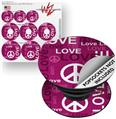Decal Style Vinyl Skin Wrap 3 Pack for PopSockets Love and Peace Hot Pink (POPSOCKET NOT INCLUDED)