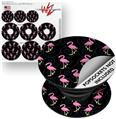 Decal Style Vinyl Skin Wrap 3 Pack for PopSockets Flamingos on Black (POPSOCKET NOT INCLUDED)