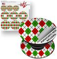 Decal Style Vinyl Skin Wrap 3 Pack for PopSockets Argyle Red and Green (POPSOCKET NOT INCLUDED)