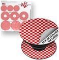 Decal Style Vinyl Skin Wrap 3 Pack for PopSockets Checkered Canvas Red and White (POPSOCKET NOT INCLUDED)