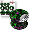 Decal Style Vinyl Skin Wrap 3 Pack for PopSockets Twisted Garden Green and Hot Pink (POPSOCKET NOT INCLUDED)