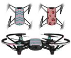 Skin Decal Wrap 2 Pack for DJI Ryze Tello Drone Zig Zag Teal Pink and Gray DRONE NOT INCLUDED