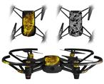 Skin Decal Wrap 2 Pack for DJI Ryze Tello Drone Flaming Fire Skull Yellow DRONE NOT INCLUDED