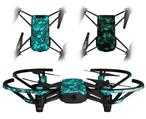 Skin Decal Wrap 2 Pack for DJI Ryze Tello Drone Scattered Skulls Neon Teal DRONE NOT INCLUDED