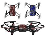 Skin Decal Wrap 2 Pack for DJI Ryze Tello Drone HEX Mesh Camo 01 Red DRONE NOT INCLUDED