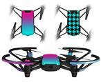 Skin Decal Wrap 2 Pack for DJI Ryze Tello Drone Smooth Fades Neon Teal Hot Pink DRONE NOT INCLUDED