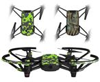 Skin Decal Wrap 2 Pack for DJI Ryze Tello Drone WraptorCamo Old School Camouflage Camo Lime Green DRONE NOT INCLUDED
