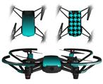 Skin Decal Wrap 2 Pack for DJI Ryze Tello Drone Smooth Fades Neon Teal Black DRONE NOT INCLUDED