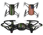 Skin Decal Wrap 2 Pack for DJI Ryze Tello Drone Painted Faded and Cracked Green Line USA American Flag DRONE NOT INCLUDED