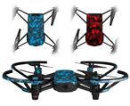 Skin Decal Wrap 2 Pack for DJI Ryze Tello Drone Scattered Skulls Neon Blue DRONE NOT INCLUDED