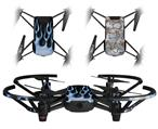 Skin Decal Wrap 2 Pack for DJI Ryze Tello Drone Metal Flames Blue DRONE NOT INCLUDED