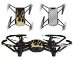 Skin Decal Wrap 2 Pack for DJI Ryze Tello Drone Metal Flames Yellow DRONE NOT INCLUDED