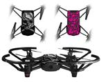 Skin Decal Wrap 2 Pack for DJI Ryze Tello Drone Chrome Skull on Black DRONE NOT INCLUDED