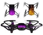 Skin Decal Wrap 2 Pack for DJI Ryze Tello Drone Fire Purple DRONE NOT INCLUDED