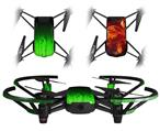 Skin Decal Wrap 2 Pack for DJI Ryze Tello Drone Fire Green DRONE NOT INCLUDED