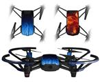 Skin Decal Wrap 2 Pack for DJI Ryze Tello Drone Fire Blue DRONE NOT INCLUDED