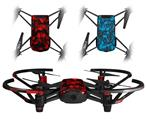 Skin Decal Wrap 2 Pack for DJI Ryze Tello Drone Skulls Confetti Red DRONE NOT INCLUDED