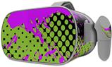 Decal style Skin Wrap compatible with Oculus Go Headset - Halftone Splatter Hot Pink Green (OCULUS NOT INCLUDED)
