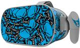 Decal style Skin Wrap compatible with Oculus Go Headset - Scattered Skulls Neon Blue (OCULUS NOT INCLUDED)