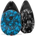 Skin Decal Wrap 2 Pack compatible with Suorin Drop Scattered Skulls Neon Blue VAPE NOT INCLUDED