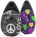 Skin Decal Wrap 2 Pack compatible with Suorin Drop Love and Peace Gray VAPE NOT INCLUDED