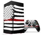 WraptorSkinz Skin Wrap compatible with the 2020 XBOX Series X Console and Controller Brushed USA American Flag Red Line (XBOX NOT INCLUDED)