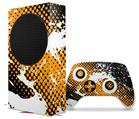 WraptorSkinz Skin Wrap compatible with the 2020 XBOX Series S Console and Controller Halftone Splatter White Orange (XBOX NOT INCLUDED)