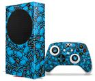 WraptorSkinz Skin Wrap compatible with the 2020 XBOX Series S Console and Controller Scattered Skulls Neon Blue (XBOX NOT INCLUDED)